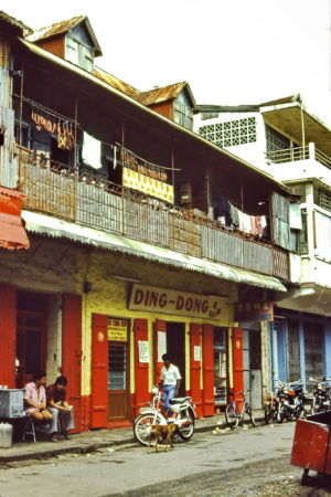 """""""Ding-Dong."""" Famous Chinese shop in Port-Louis, Mauritius - 1983"""